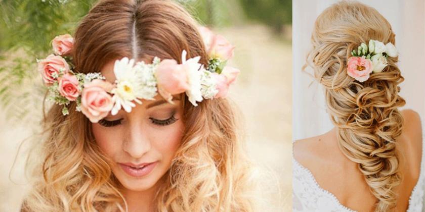 Penteado de noiva com flor no cabelo